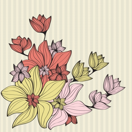 muted: Beautiful design illustration of a bouquet of vintage flowers in muted pastel shades on a striped beige background with copyspace for your greeting