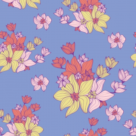 pastel shades: Seamless background pattern of arrangements of beautiful vintage flowers in muted pastel shades scattered on a soft blue background Illustration