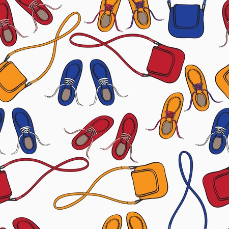 Colourful array of shoes and handbags in red, orange and blue scattered over a white background in a seamless pattern