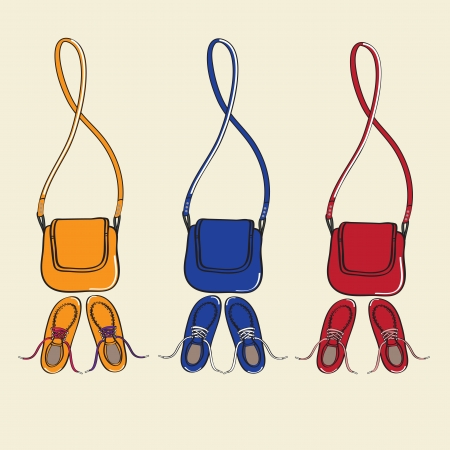 Design illustration of three sets of trendy casual lace-up shoes and matching handbags with shoulder straps isolated on a neutral background Vector