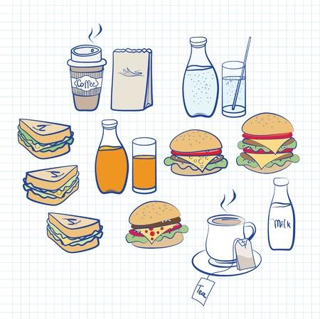 foglio a righe: Disegnati a mano disegni in colori pastello di una variet� di cibi e bevande su quadrato bianco governato carta con caff�, t�, soda, hamburger e panini Vettoriali