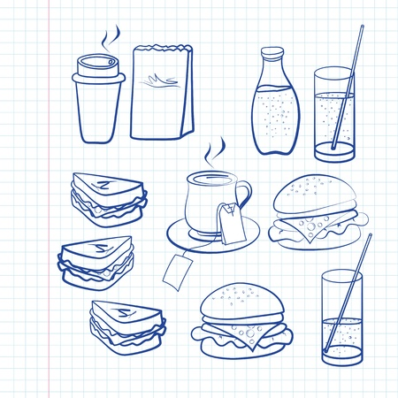 softdrink: Hand drawn outlines of a variety of food and beverages on white square ruled paper including coffee, tea, soda, burger and sandwiches Illustration