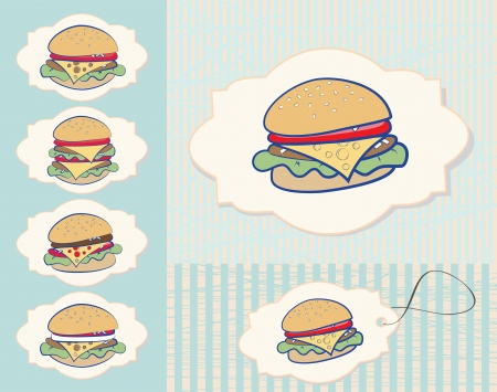 fillings: Set of six different burger designs with cheese and a variety of additional fillings in an ornamental frame