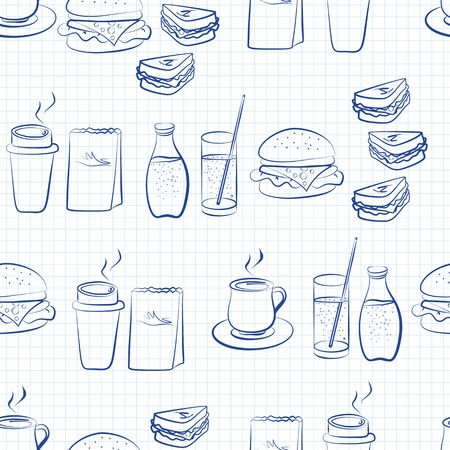 Seamless food and beverages linear design with hand drawn outlines of coffee, tea, sodas, cheeseburgers and sandwiches arranged in rows on square lined white paper Illustration