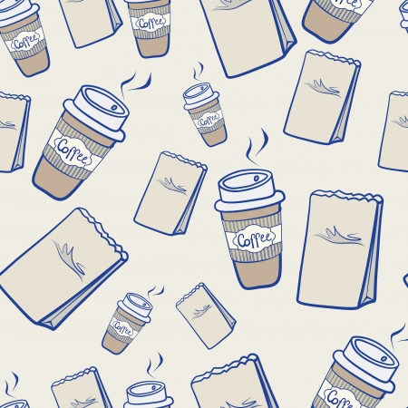 packets: Seamless background pattern of disposable cups of hot steaming takeaway coffee and paper packets for a snack scattered randomly on a neutral background
