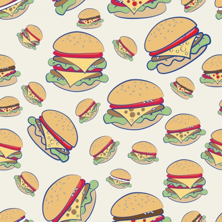 Seamless background pattern of different cheeseburgers in a random scatter on a white background
