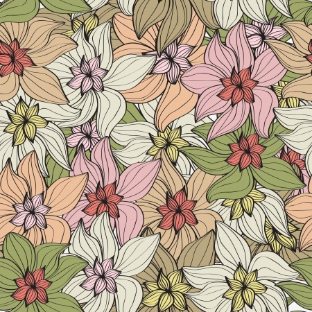 muted: Seamless background pattern of arrangements of beautiful vintage flowers in muted pastel shades Illustration