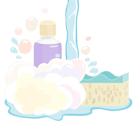 muted: Pretty retro illustration of a shower gel set and sponges with flowing water in soft muted pastel colours on white Illustration