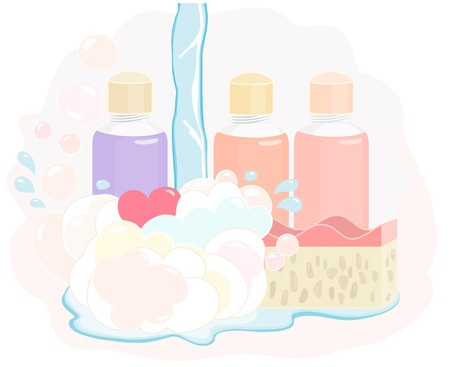 muted: Pretty shower gel set with bottles of gel, soapy bubbles, a sponge and stream of running water in delicate muted pastel colours, illustration on white