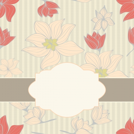 Beautiful delicate floral seamless pattern with pink flowers and a blank ornate white central frame or cartouche for your text