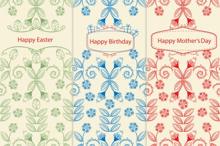 Variants of greeting cards with seamless floral patterns of leaves and flowers in delicate outlines and labels or cartouches containing the text for Mothers Day, Happy Birthday and Happy Easter