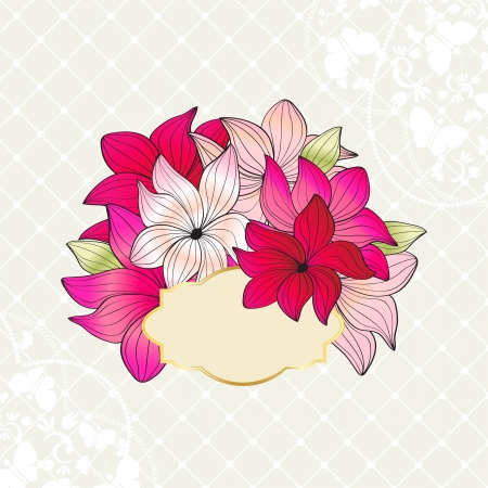 rimmed: Dise�o de la tarjeta de felicitaci�n con ramo de hermosas flores de color rosa con un oro adornado con bordes etiqueta o emplazado entre los p�talos de su mensaje o texto sobre un fondo gris con textura