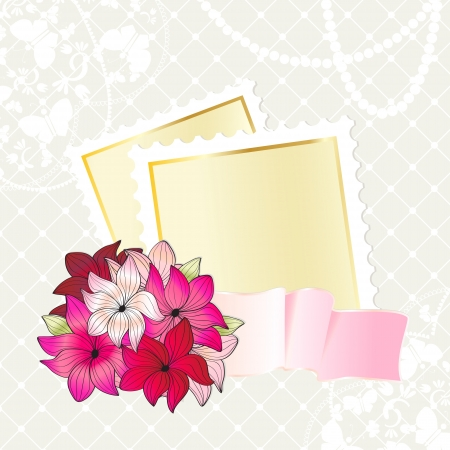 rimmed: Tarjeta de dise�o floral de oro con bordes de papel en blanco y una cinta ondulada con un ramo de hermosas flores de color rosa sobre un fondo gris con textura Vectores