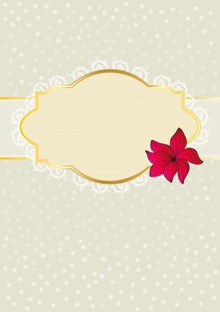 rimmed: Dise�o de la tarjeta de felicitaci�n floral de oro adornado con borde blanco cartucho para su saludo o mensaje con una sola flor roja sobre un fondo gris con textura Vectores