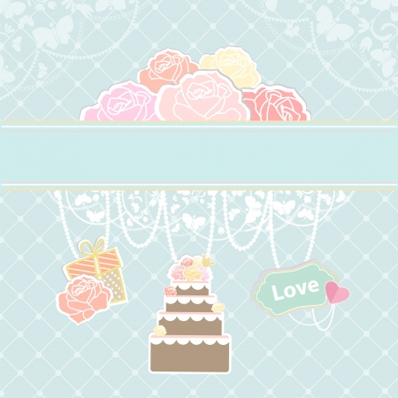Conceptual illustration of cake, decoration and clouds as roses  Vector