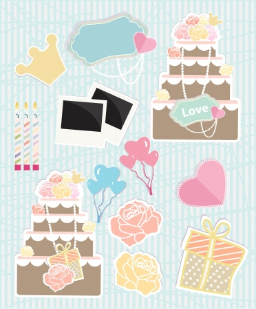 Collection of Love themed objects with wedding cakes, heart shaped party balloons, gifts, roses, a heart, birthday candles and empty photo frames  illustration on a soft blue textured background Vector