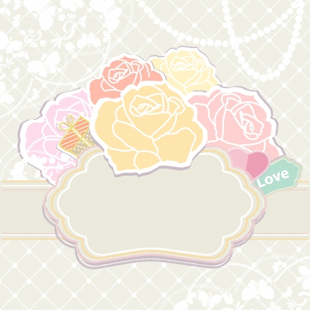 Bouquet of roses with a tag reading Love in soft pastel retro colours over an empty cartouche or label with copyspace for your text