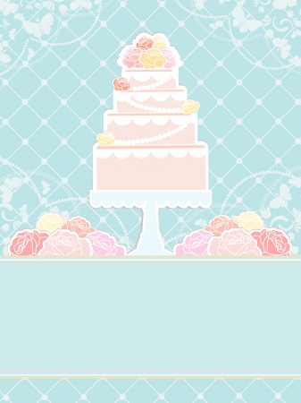 tiered: Conceptual illustration of pink cake and roses on a blue background  Illustration