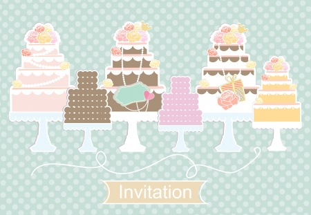 display: Pretty pastel invitation design with a display of tiered decorative birthday and wedding cakes in a row on a light blue patterned background with a cartouche with the word Invitation below