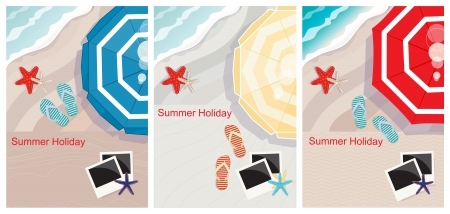 overhead view: Three tropical beach designs with copyspace and an overhead view of a colourful beach umbrella, slip-slops, starfish and empty instant photo frames, conceptual of a summer vacation and travel Illustration