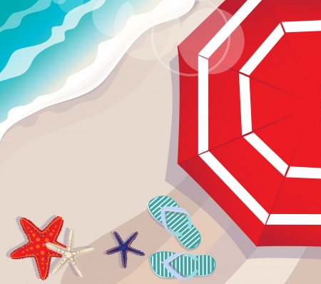 thongs: Overhead illustration depicting a summer vacation at the seaside with a colourful red beach umbrella above starfish and thongs lying o the golden sand lapped by a blue ocean