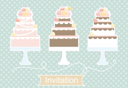 tiered: Pretty pastel invitation design with a display of tiered decorative birthday and wedding cakes in a row on a light blue pattened background with a cartouche with the word Invitation below Stock Photo