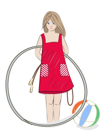 Illustration of a pretty young girl in a summer dress with a  hoop, beach ball and skipping rope on a white background with copyspace Stock Vector - 21059591