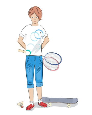 Illustration of a sporty young girl in knee length jeans standing with a badminton racket in her hands and skateboard at her feet on a white background Stock Vector - 21059592
