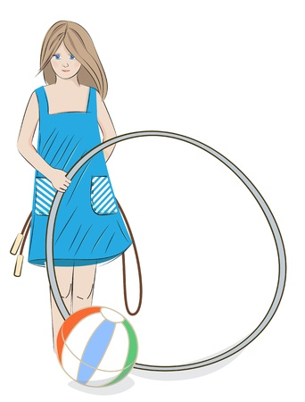 Illustration of a pretty young girl in a summer dress with a  hoop, beach ball and skipping rope on a white background with copyspace Stock Vector - 21059594