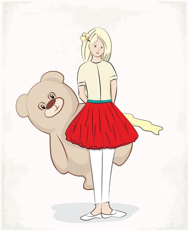 Illustration of a pretty young girl standing demurely with her hands behind her back holding a large plush teddy bear on a white background Stock Vector - 21464664