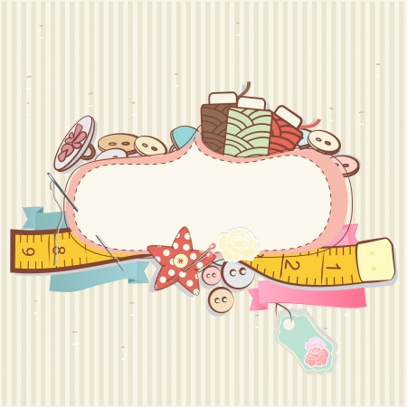 Pretty delicate pastel design of sewing accessories above a blank decorative cartouche or label on a patterned background Иллюстрация