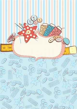 Pretty delicate pastel design of sewing accessories above a blank decorative cartouche or label on a patterned background Illustration