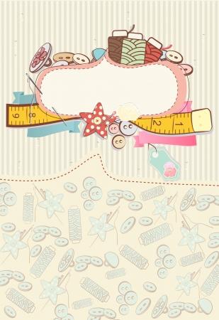 needlework: Bella carta con accessori per cucire circondano un vuoto cartiglio bianco o l'etichetta per il messaggio o invito su un fondo abbastanza delicata fantasia Vettoriali