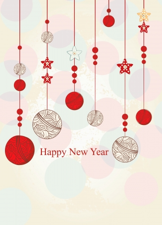 New Year greeting card or invitation with hanging Christmas baubles and decorations with copyspace for your seasonal message below