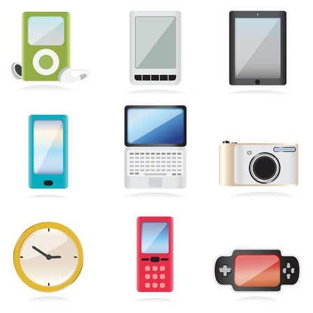 tabletpc: Illustration of a set of of electronic equipment icons depicting recreational devices such as a laptop, tablet, tablet-pc, music stroage device. camera mobile phone and smartphone with a clock