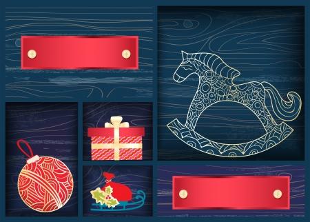 schommelpaard: Doos van kleurrijke rode kerstversiering met een sierlijke hobbelpaard, snuisterij, slee en gift box en twee lege banners voor uw Kerstmis of Nieuwjaar groet, ontwerp illustratie