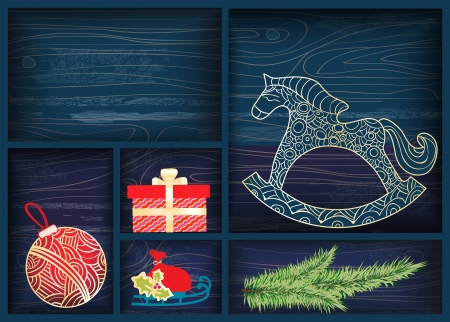 horse sleigh: Xmas illustration of a box with small compartments filled with Christmas decorations including a rocking horse, sleigh, gift and bauble with an empty division with copyspace for your seasonal greeting Illustration