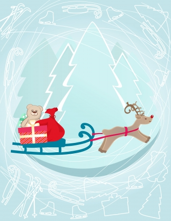Seasonal illustration of a cute red-nosed reindeer pulling a sleigh filled with Christmas gifts and a teddy bear across a blue background with sketched winter presents and trees Vector