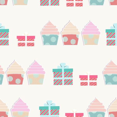 Birthday background with cupcakes and gifts in a repeat seamless pattern with ornamental presents in boxes with bows and decorative little iced cakes for a festive occasion or party