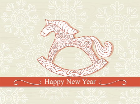 seasonal greeting: Happy New Year card with a cute cartoon childs rocking horse above a banner with the seasonal greeting on a background of winter snowflakes Illustration