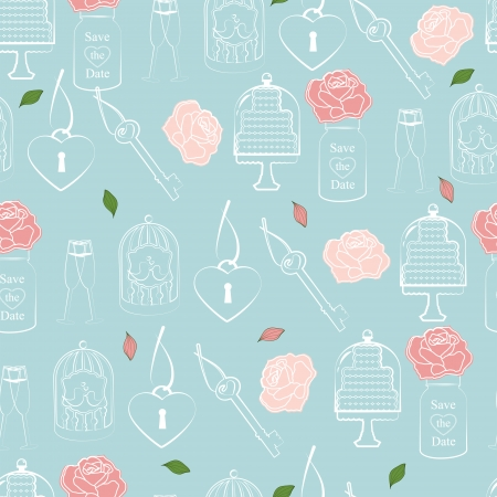 sentimental: Wedding and Valentines seamless pattern in sentimental soft pastels of roses, hearts and cake symbolic of love and romance