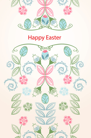 dainty: Pretty dainty vector illustration of a floral Happy Easter seamless vertical banner or card design in pink, blue and green with stylized spring flowers, painted Easter Eggs and the text - Happy Easter