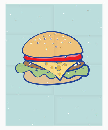sesame: Vector illustration of a tasty cartoon cheeseburger on a sesame bun on a poster or sheet of blue paper with a pattern of fold lines Illustration