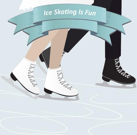 patinaje sobre hielo: Un hombre y una mujer de patinaje sobre hielo en invierno, junto con una visi�n de sus piernas con una bandera de la cinta con el texto - de patinaje sobre hielo es diversi�n - ilustraci�n vectorial en colores invernales azules frescas