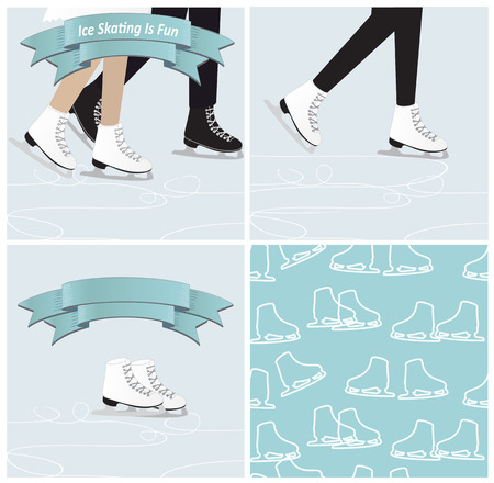 ice skating: Set of four ice skating illustrations in cool blue winter shades with the legs of a couple figure skating, a single woman skater, a pair of ice skates with a banner and a seamless background pattern Illustration