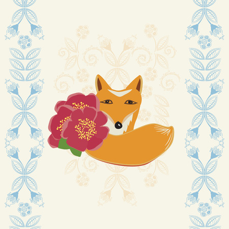 dainty: Happy Birthday greeting card with a cute little fox holding red flowers between dainty retro blue floral borders - Happy Birthday - illustration