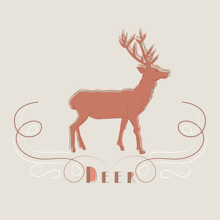 Decorative illustration of deer with the text - Deer - below