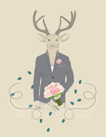 suitor: Illustrazione disegnata a mano del vestito cervo elegante con bouquet di rose