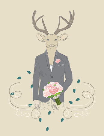 Hand drawn illustration of dressed up elegant deer with bouquet of roses