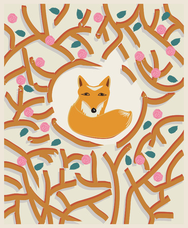 Cute little brown fox in a forest depicted by intertwining branches with leaves in a pretty card design